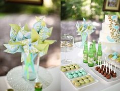 Sweet displays for a dessert table at an outdoor wedding.
