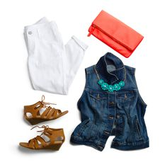 This summer's Old Navy must-haves: the iconic denim vest, fold-over clutch, gladiator sandals and a fitted pair of rockstar cropped jeans.