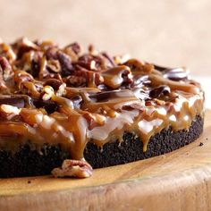Our Gooey Chocolate-Caramel dessert is topped with a layer of caramel and pecans. More #Chocolate recipes: http://www.bhg.com/recipes/desserts/chocolate/dark-chocolate-dessert-recipes/
