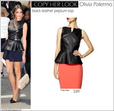 COPY HER LOOK: Olivia Palermo in black leather peplum top ~ I want her style - What celebrities wore and where to buy it