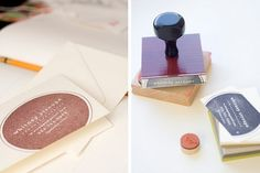 rubber stamp business cards.