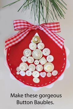DIY Red Felt and Button Baubles.