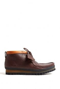 Brown Leather Wallabee Hiking Shoes by Clarks