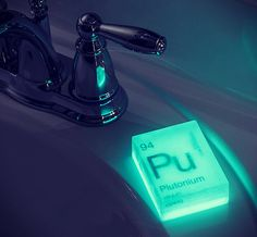 Introducing Nuclear Element Soap ($20.00). Made to look like various elements from the periodic table, each bar of soap is embedded with an elemental symbol written on a special paper that glows in the dark