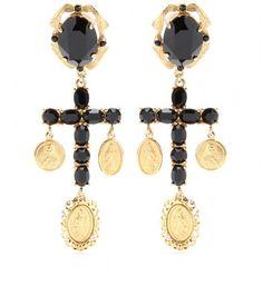 Crystal Cross Earrings - DOLCE GABBANA