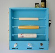 Great idea for plastic wrap, tin foil, ziploc bags, etc.  #kitchen #organization