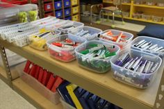 Rather than individual sets of markers, Mandy Robek organizes them by color in her kindergarten classroom. Easy for students to select a set, and learn their colors as they put the markers away.