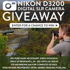 Enter for a chance to win a Nikon D3200 from Sierra Trading Post -- http://stp.me/vweqh #giveaway #photography