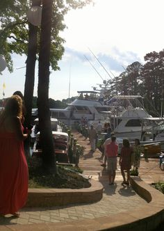 the dock / aisle  heading to the alter, a vintage yacht. AMAZING idea for a unique wedding
