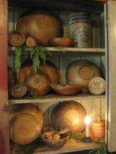 Beautiful wooden bowls and butter molds