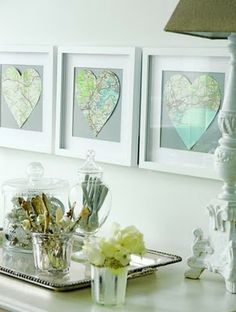 Mapping our Love...where we first met, got married, honeymooned, live, etc.  Think I might actually do this for our room since I'm having such a hard time finding art!