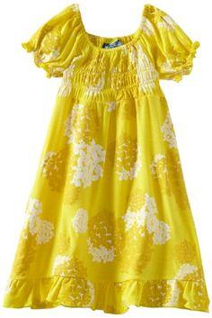 Kicky Pants Baby-girls Infant Gathered Dress, Buttercup Hydrangea, 12-18 Months