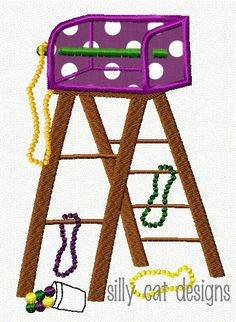 Mardi Gras Ladder Applique Embroidery Design by SillyCatDesigns, $3.50