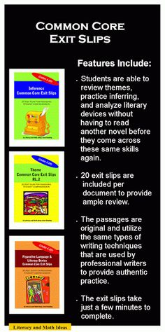 Literacy & Math Ideas: Common Core Exit Slips
