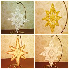 #Handmade #crocheted #Star #Ornaments, from #HeritageHeartcraft - ON SALE! ~ sparkle white about 4 inches tall ~ sparkle yellow about 3 inches tall ~ ivory with gold trim about 6 inches tall. ~ sparkle white about 4 inches tall. thread crochet star