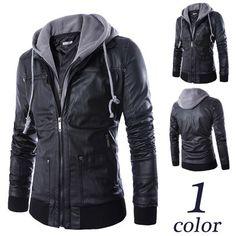 Men Slim Fit Zip Black Leather Hoodie Jacket | Sneak Outfitters