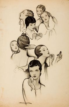 Todays vintage  hair inspiration comes from this beautiful illustration.