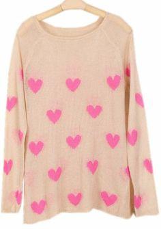 Light Grey Long Sleeve Heart Mohair Sweater