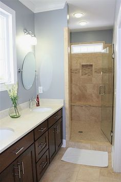 Master bathroom from the Foxcroft Plan 1144 http://www.dongardner.com/plan_details.aspx?pid=3244 The master suite is complete with a walk-in closet and well-equipped master bath with a double vanity, garden tub and shower. #Small #Home #Designs #Shower