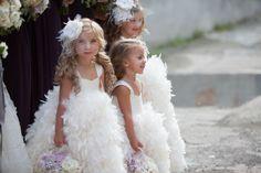 fluffy flower girls with mini veils!!