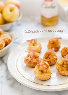 Apple Cheddar Gougeres with Crispy Prosciutto | www.kitchenconfidante.com