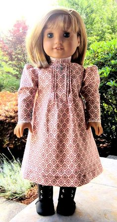 PDF Pattern for Turn-of-the-Century style Calico Dress and Apron for 18 inch American Girl Doll
