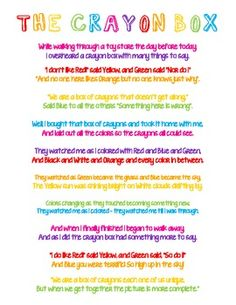 The Crayon Box That Talked Poem Printable Images & Pictures - Becuo