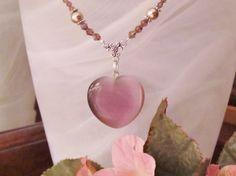 Plum Purple Heart Pendant Necklace by RomanticThoughts, $38.00