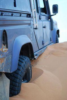 Land Rover Defender in desert