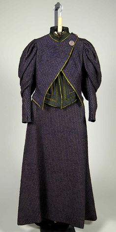 Purple wool tweed afternoon dress with black and yellow silk trim, American, 1894-96.