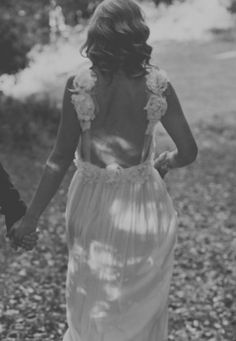 Amazing low back wedding dress with sheer straps and dreamy silk chiffon skirt and flower detailing via Etsy
