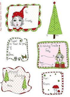 More whimsical Christmas tags. #printables #tags #christmas