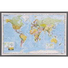 World Map in Art | Crate and Barrel $25