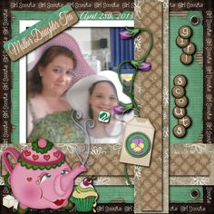 Mother and Daughter Tea 12x12 Digital Scrapbook Page for Girl Scouts.  This is part of entire line of Digital Scrapbook Pages for Girl Scouts.  Brownie and Daisey kits coming soon.  This is the perfect keepsake for that special Mother Daughter Tea.  This and other Girl Scout Scrapbook Pages can be found at www.collenelandscraps.com