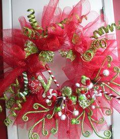 Christmas Wreath with spirals, peppermint, red mesh, Joy ornament