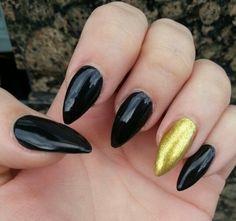 Gel Nails -Black Almond Shape Nails | nails! | Pinterest