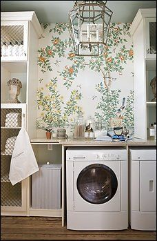 Love the idea of Chinoiserie wallpaper in the laundry room