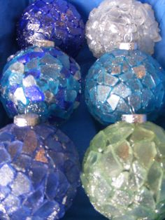Glittered Sea Glass Ornaments, My kids and I made these with sea glass clear silicone and clear glass ornaments. These would make great gifts., Holiday Project