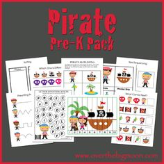 Pirate Pre-K Pack (with boy and girl pirates)!!  30+ pages of pirate learning and fun!