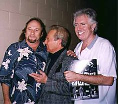 Charlie is greeted by Stephen Stills and Graham Nash, 2000.