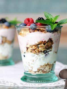 Yogurt parfait with homemade granola and strawberry yogurt
