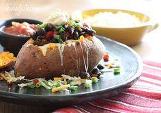 Loaded Baked Sweet Potato | Skinnytaste