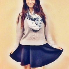 Skater skirts, sweaters, & scarves.