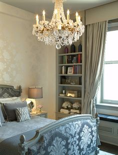 French bed with crystal chandelier
