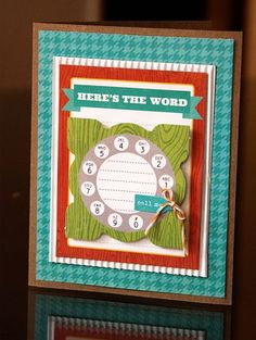 Here's The Word Card by Lisa VanderVeen using Jillibean Soup's white corrugated paper and Neopolitan Bean Bisque collection (via the Jillibean Soup blog).