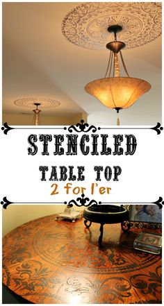 #stenciled table top with a ceiling medallion stencil Two for one diy!