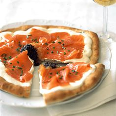 Pizza with Smoked Salmon, Crème Fraîche and Caviar Recipe   Food & Wine