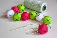 DIY woven paper ball garland