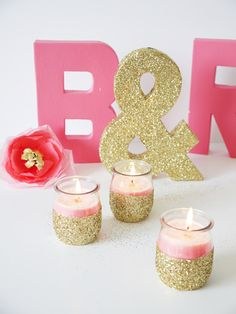 Make any occasion sparkle with these festive glitter-dipped candleholders. #DIY