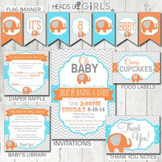 Digital Printable Aqua Orange and Gray Elephant Party Package includes Invitations, Banner, Diaper Raffles, Book Inserts, Thank You Notes, Food Table Labels, Treat Bag Toppers, Place Setting Cards, Cupcake Toppers, Cupcake Wrappers in Aqua, Orange and Gray for Gender Neutral Baby Showers by HeadsUpGirls, $45.00